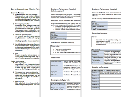 Performance Appraisal Forms - Free download